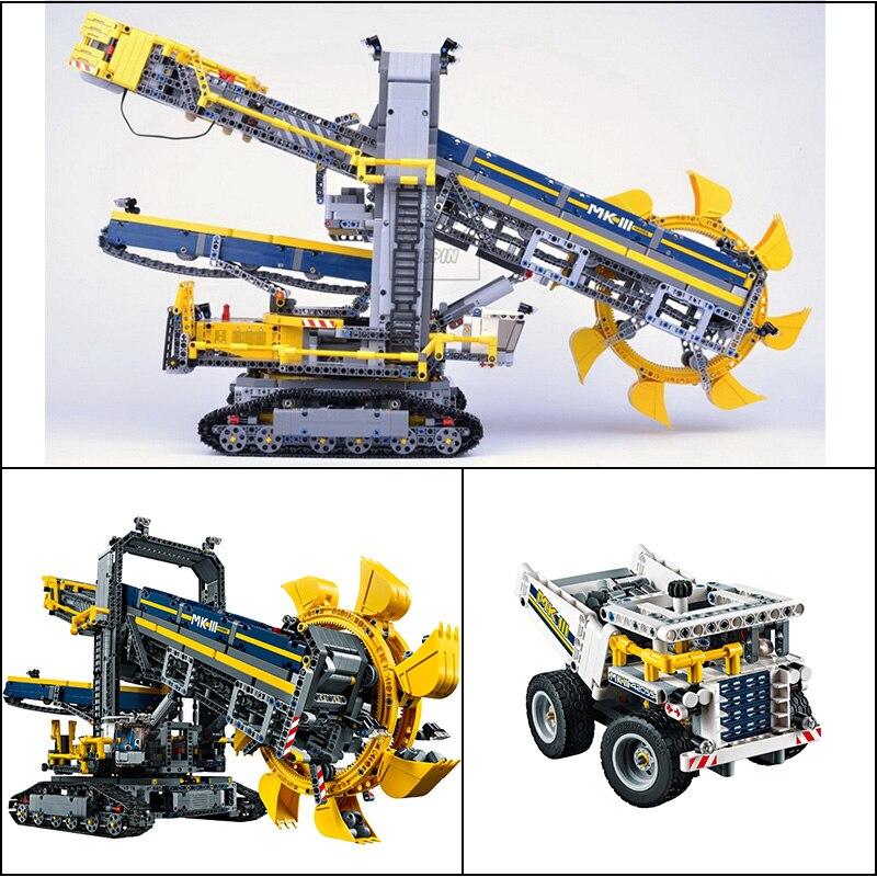 LEPIN 20015 Technic Trattore 3929 pz Ruota Secchio Escavatore Tecnico Building blocks Mattoni Compatibile 42055 Giocattoli Per I Bambini