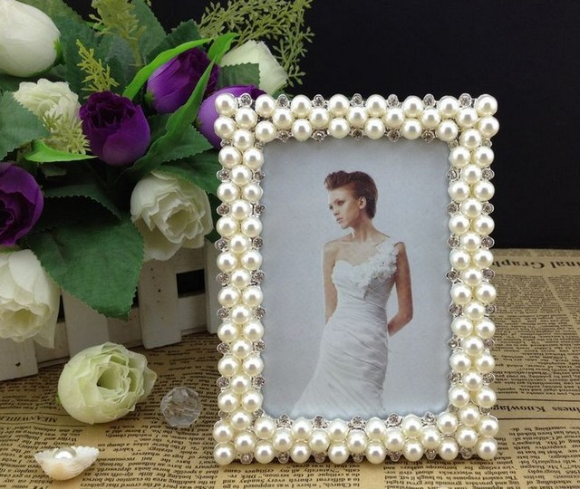 High End 3x5 Inch Bling Rectangle Zinc Metal Picture Frames Silver