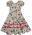 Sunny Fashion roupas infantis menina Esquilo de Fox Pássaro Mushroom impressão listradas roupa dos miúdos Crianças 7-14 Verão princesa Vestidos  Festa Vestido de Verão