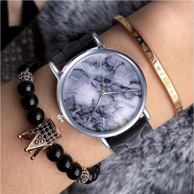 Fashion Leather Creative Marble Wrist Watch Casual Analog Women Quartz Watches C