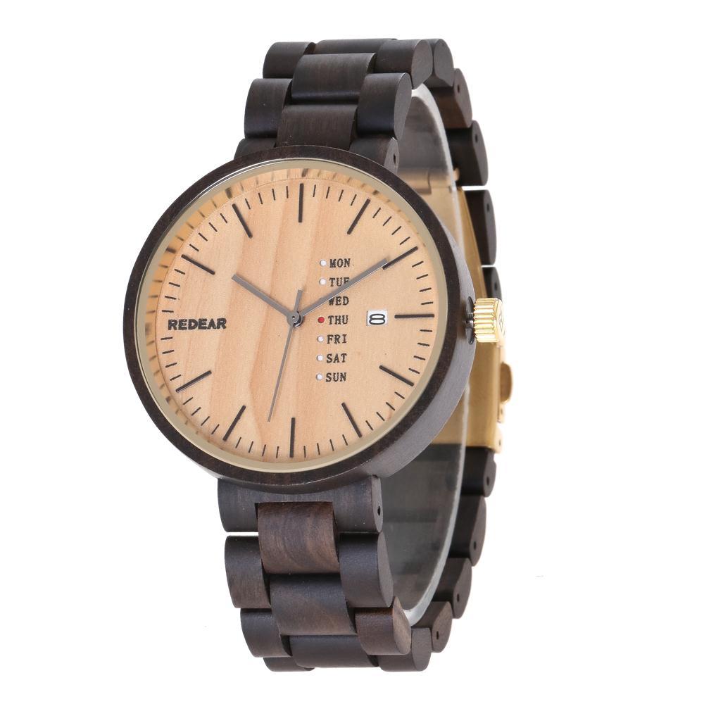 Luxury Brand REDEAR Men's Ebony Wood Watch Men Watch Clock Men Fashion Auto Date Wrist Watches Week Display Saat Reloj Hombre ebony wood sunglasses men brand designer fashion polarized sun glasses with bamboo box z68020
