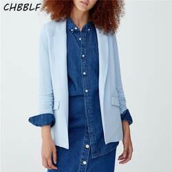 CHBBLF женщин одноцветное пиджак карманы плиссированные рукава Зубчатый воротник плеча площадку пальто женские Верхняя одежда Топ DFT27209