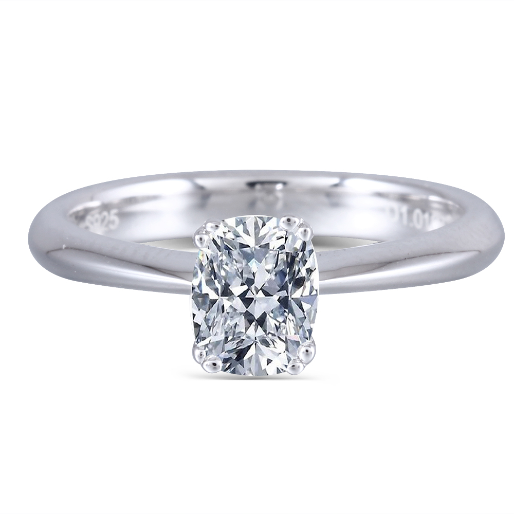 TransGems Solid 14K 585 White Gold 1 Carat CT 5X7mm F Color Cuhsion Cut Moissanite Engagement Ring for Women Wedding Gift in Rings from Jewelry Accessories