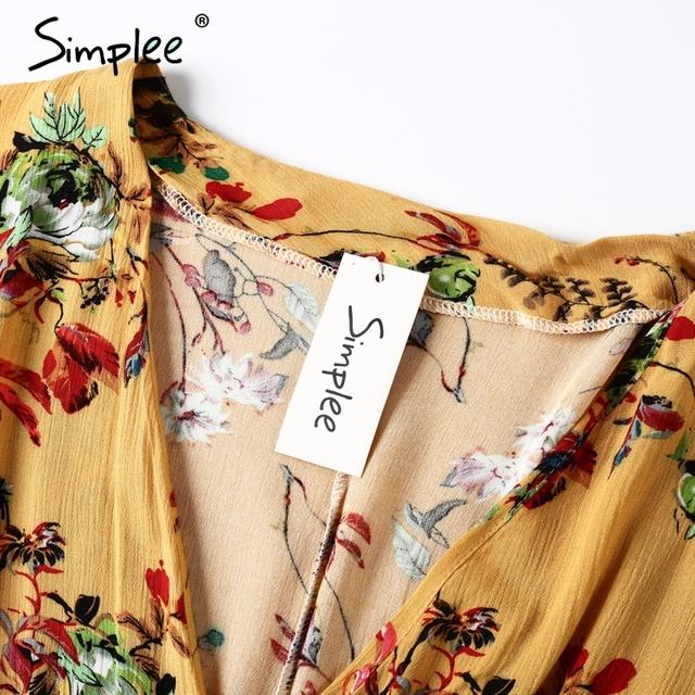 Simplee flower Print batwing sleeve summer dress women Sexy v neck high waist beach dress 2017 bow short dresses streetwear