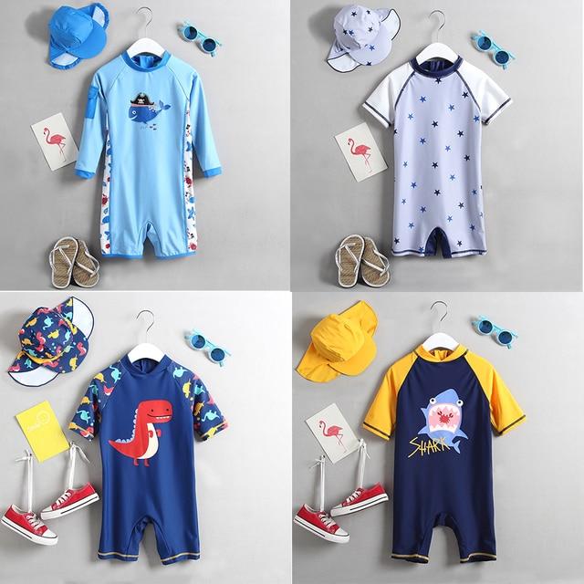 1 3T ملابس سباحة للأطفال قطعة واحدة الرضع طفل الفتيان ملابس السباحة الكرتون الوليد الاطفال الاستحمام دعوى الشمس المحمية الأطفال الشاطئ بركة ارتداء