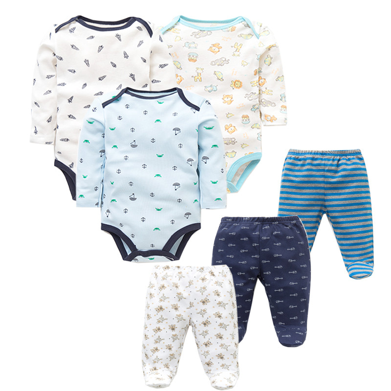 6 PCS /Lot Fashion Baby Clothing Sets Cotton Newborn Toddler Infant Long Sleeve Baby Rompers+ Baby Pants Baby Boys Girls Clothes цена
