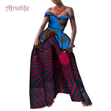 New Off the Shoulder Top and Print Pants Sets Bazin Riche Women Shawl Pant 2 Pieces Suits African Style Clothing WY4137
