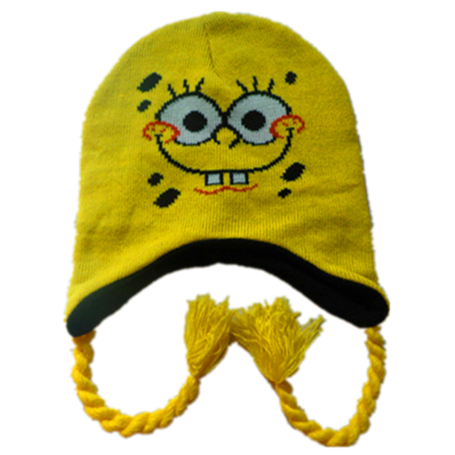 2676dc35fdd Children Adult Cartoon Anime Sponge Bobb Knitted Plush Hats Cosplay animals  Beanies with pom pom Winter Warm Halloween Kids Caps