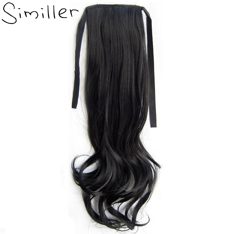 Similler 22 55cm Pure Curly Synthetic Ponytails Claw On Hair Extensions Black 613 99J Hairpieces For Women 80g ...