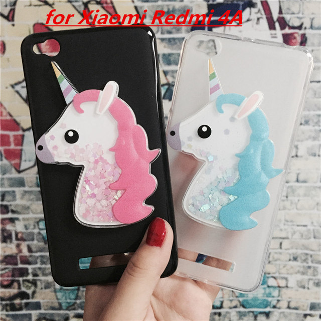 buy online 34eba 0e7d7 US $1.63 18% OFF|3D Unicorn Quicksand Liquid Soft Silicone Case for Xiaomi  Redmi 4A Phone Cover Cartoon Diamond Funda Coque Fashion Owl Capa-in Fitted  ...