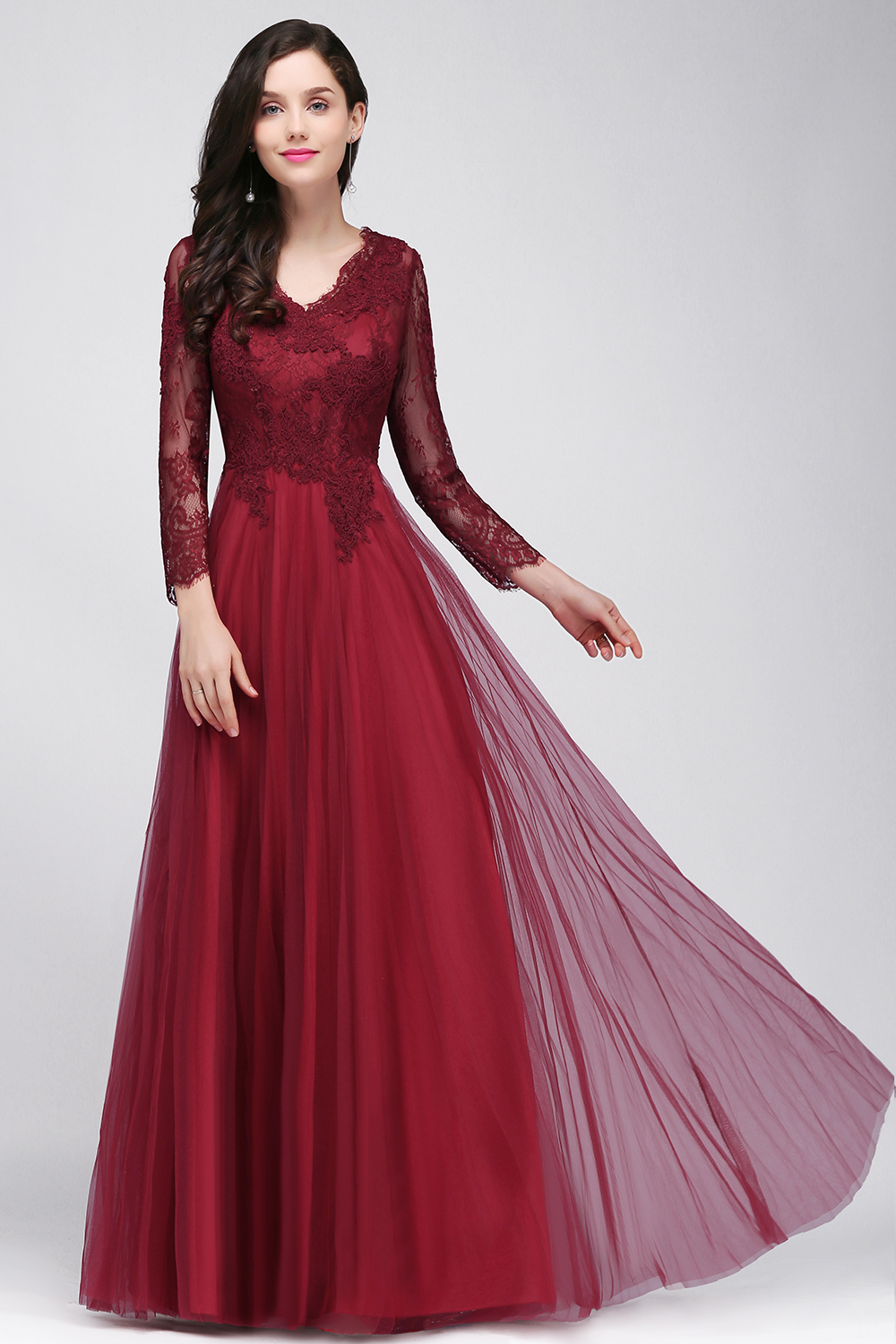 Long Sleeves Lace Satin Off-the-Shoulder Prom Dresses ... |Formal Lace Dress With Sleeves