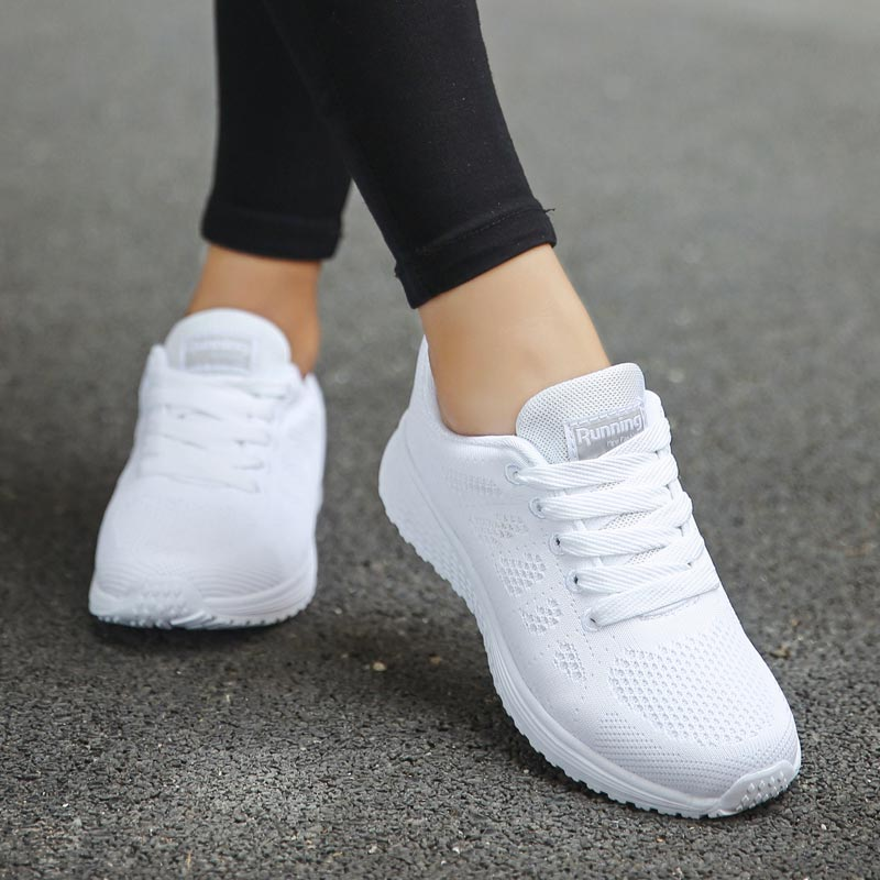 Hundunsnake Breathable Mesh Women's Athletic Shoes Sport Lady Sports Shoes White Running Shoes Women's Sneakers Chausure A-198