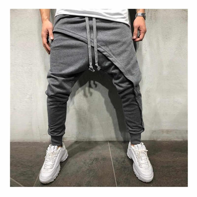 男性の鉛筆のズボンの男性非対称レイヤードジョガーパンツヒップホップストリートジョガーパンツカジュアル巾着閉鎖床パンツ