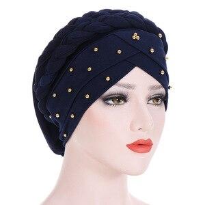 Image 4 - Moslim Vrouwen Elastische Bead Cross Katoen Braid Tulband Hoed Sjaal Chemo Mutsen Cap Hijab Hoofddeksels Hoofd Wrap Haaraccessoires