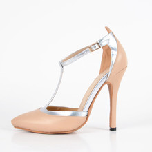 Leather T-strap Women's Stiletto Heel Pointed Toe Sandals chaussure femme With Buckle Solid Cover Heels Size 4 To 14