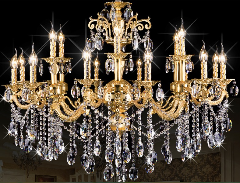 Free Shipping 18 Heads E14 lamps Factory Wholesale modern Gold crystal chandelier K9 crystal chandelier K9 Crystal Pendant Lamp free shipping 8 e14 led lamps factory wholesale modern rectangular gold crystal chandelier k9 crystal chandelier