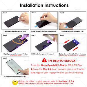 Image 5 - Akcoo S10 Plus tempered glass screen protector UV full glue fiim for Samsung galaxy S6 7 edge S8 9 Note 8 9 S10 screen protector
