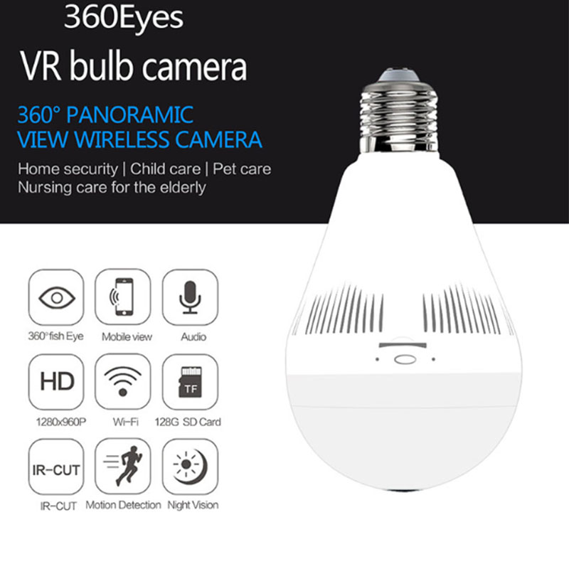 Bulb Lamp Wireless IP Camera Wifi 960P Panoramic FishEye Home Security CCTV Camera 360 Degree Night Vision Support 128GB wifi ip bulb camera 360 fisheye panoramic bulb camera 1 3mp 960p cctv video surveillance wifi security camera