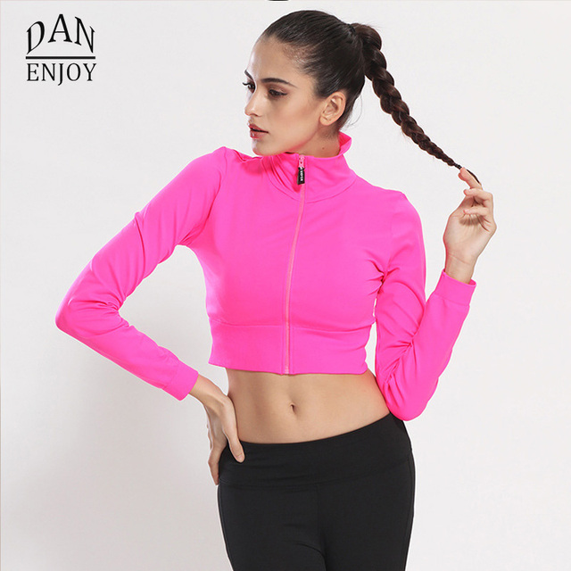 Dry Quick Gym Yoga Jackets High Elastic Tights Women s Fitness Jackets  Running Long Sleeve Zipper Jackets Fitness Women Clothes 04bd33b25fbd