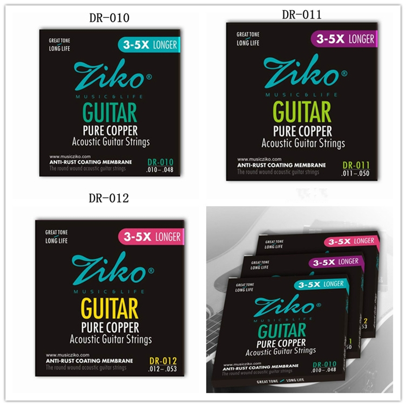 цены  Ziko DR Acoustic Guitar Strings 010 011 012 Great Tone 3-5X Longer Guitar Pure Copper Acoustic Wound Guitar Strings 6pcs/set