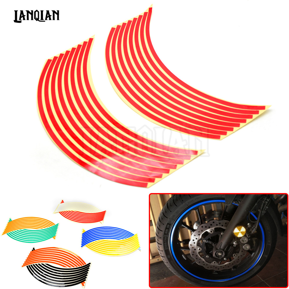 Multicolors Motobike Car Accessories Motorcycle Wheel Tire Reflective Rim Stickers And Decals Decoration Stickers17/18inch Wheel