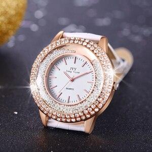 Image 5 - Dropship New Fashion Ladies Leather Crystal Diamond Rhinestone Watches Women Beauty Dress Quartz Wristwatch Hours Reloj Mujer