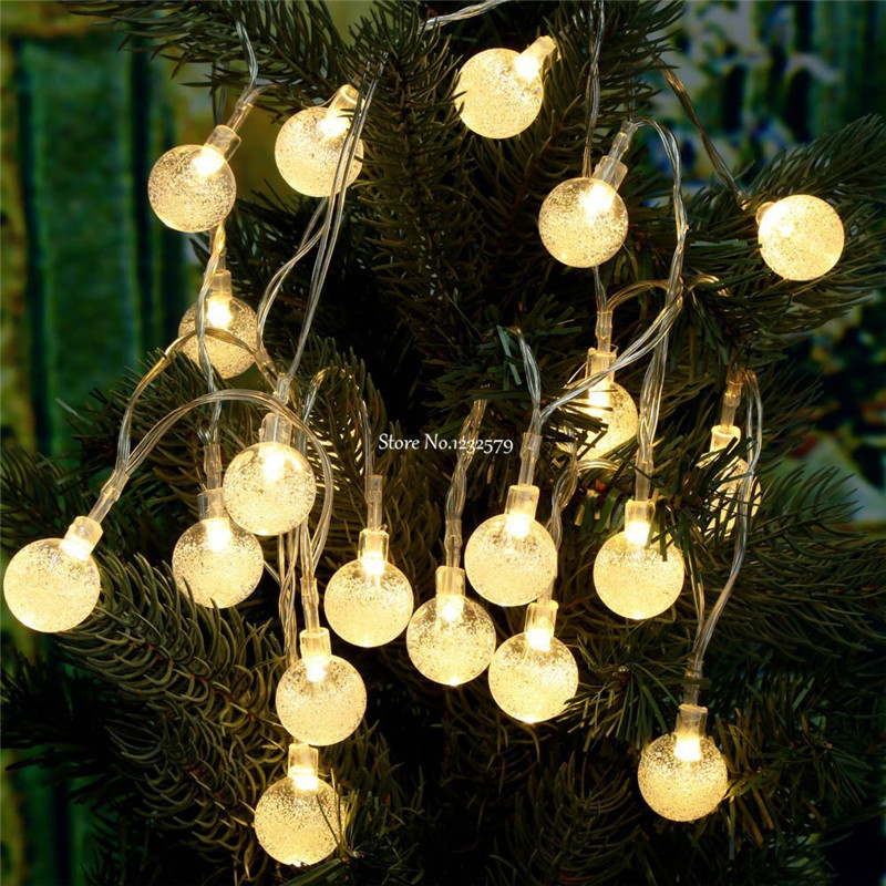 new styles 13d49 363da US $14.12 10% OFF|4M 40 LED Crystal Bubble Balls Fairy Lights Portable  Flash String Battery Lights for Wedding Christmas Party Holiday-in LED  String ...