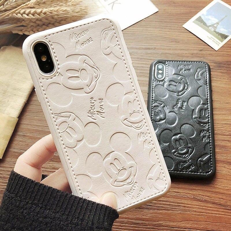 Funda de teléfono de cuero PU de lujo para iPhone 6 s 7 8 Plus Minnie Mouse funda de silicona suave de dibujos animados para iPhone XR Xs MAX Coque