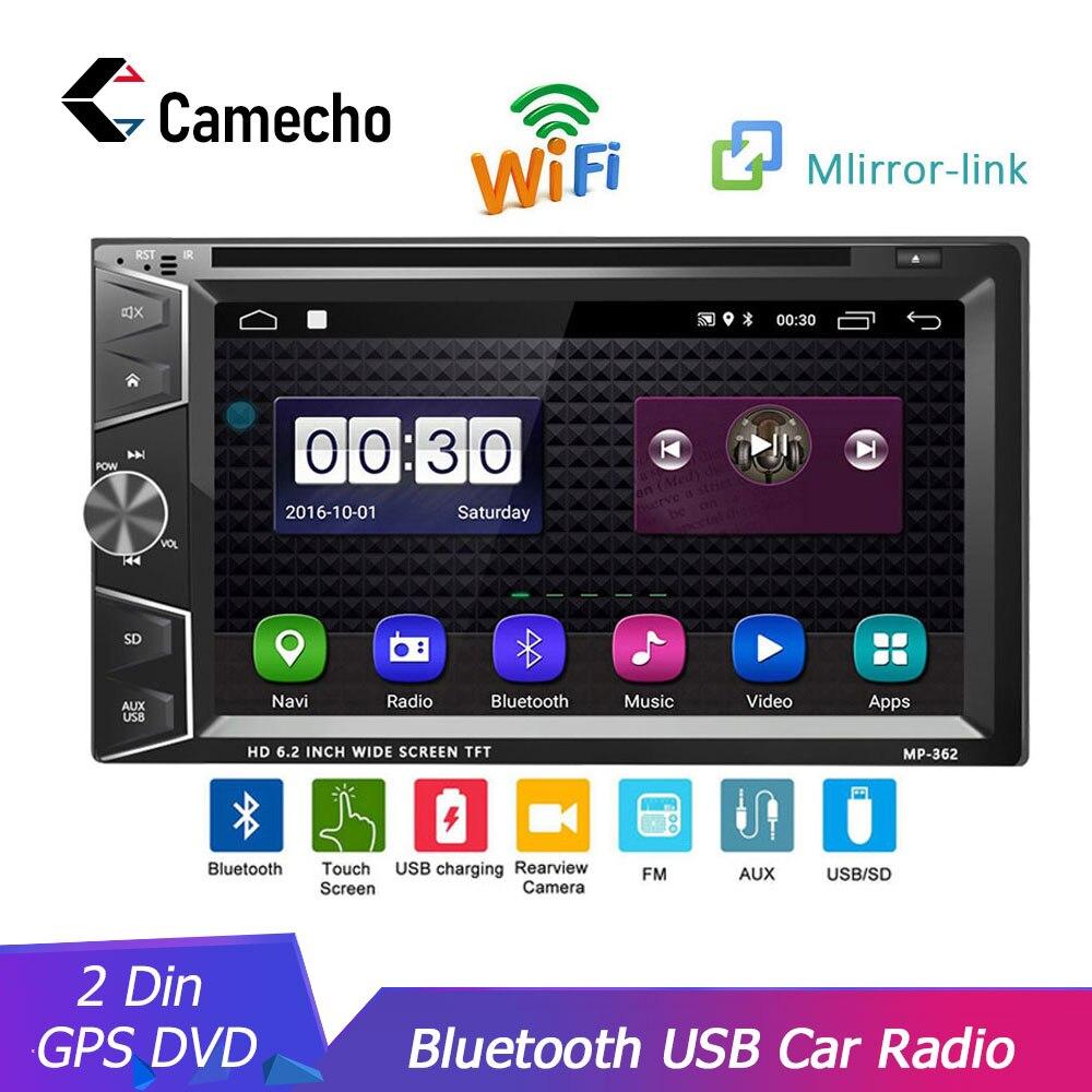 Camecho voiture lecteur multimédia 2Din voiture DVD voiture GPS Bluetooth Radio stéréo lecteur écran tactile USB AVX vue arrière caméra Autoradio