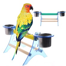 цена на Wooden+Acrylic bird decorative cage Parrot Perch Stand Platform Play Fun Toys Pet Wooden Playstand Cup For Bird Cage 2018
