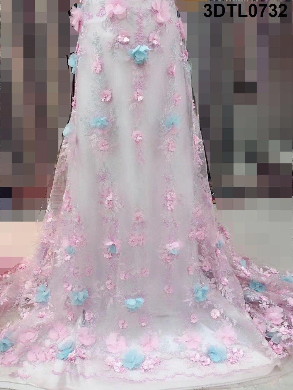 Розовая африканская кружевная ткань 2019 3D Цветы из бисера тюль кружевная ткань высокого качества красивая французская Тюль кружевная ткань