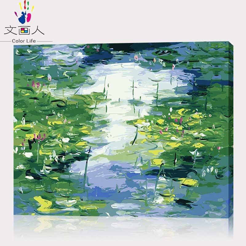 Färbung durch zahlen Claude monets gemälde Arten von Wasser Lilien, eindruck, lotus bilder farben durch zahlen mit farben diy