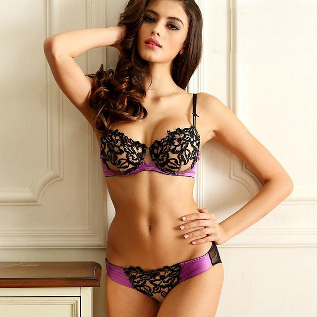 buy luxury quality elegant full lace embroidery lady 39 s underwear bra set push. Black Bedroom Furniture Sets. Home Design Ideas