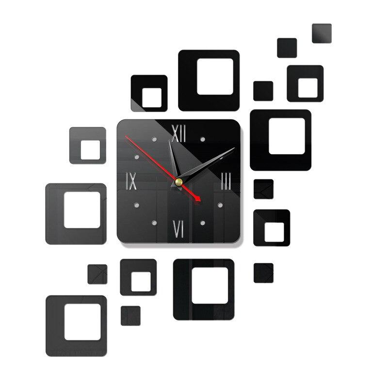 Американский современный большой 3D зеркальная поверхность настенные часы стикер домашний офис комната DIY Декор - Цвет: b