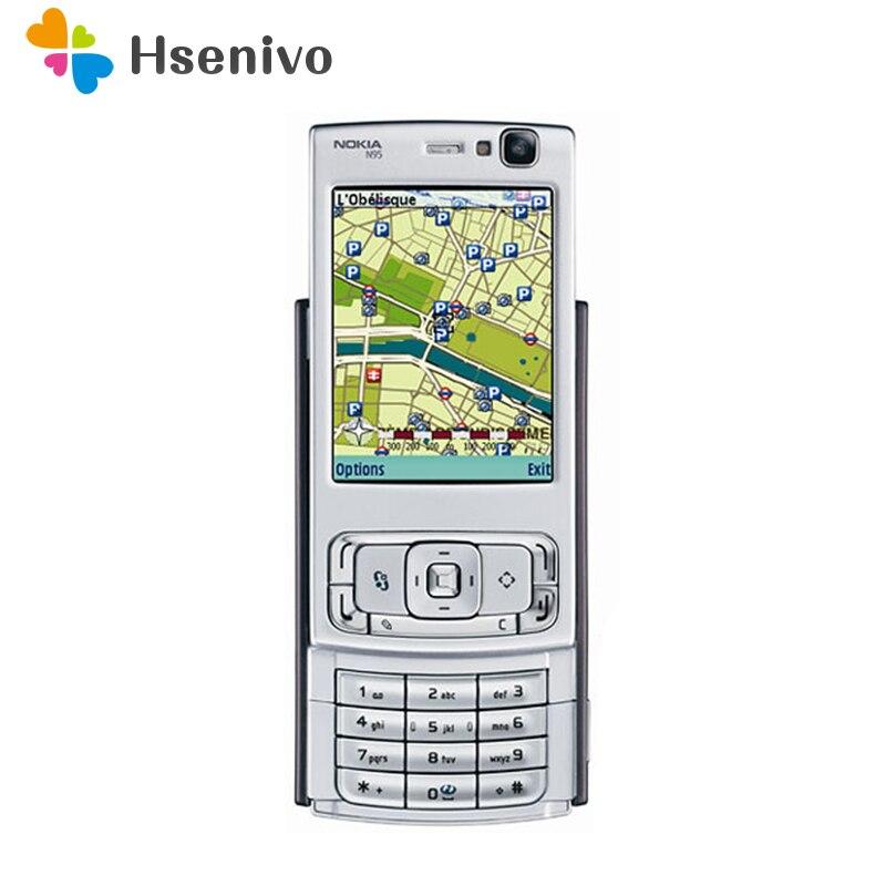 Восстановленное N95 оригинальный Nokia N95 WI-FI gps 5MP 2,6 ''WI-FI 3g открыл мобильный телефон 1 год гарантии