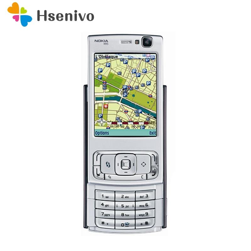 Восстановленный N95 оригинальный Nokia N95 Wi Fi gps 5MP 2,6 ''экран 3g разблокирована мобильный телефон гарантия 1 год