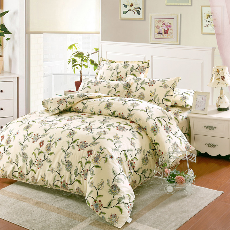 100 cotton bedding sets usa twin full queen king size white flowers printed bedsheet pillowcase. Black Bedroom Furniture Sets. Home Design Ideas