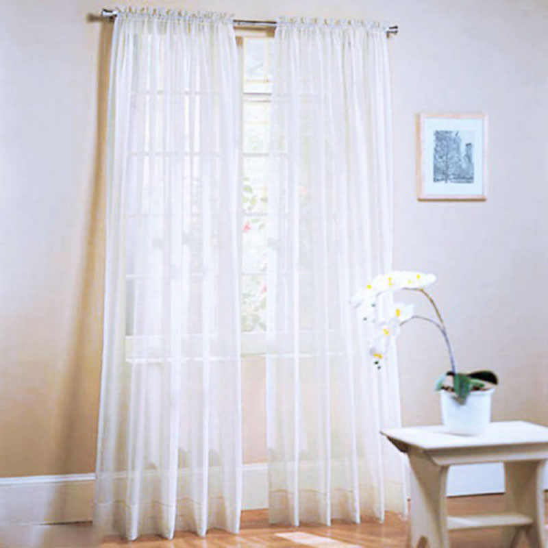 Urijk Solid Color Yarn Curtain Window Pure Color Tulle Curtains For Living Room Kitchen Modern Voile Curtains Window Treatments