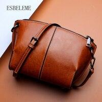 ESBELEME Cow Leather Women Single Shoulder Bags For Female Blue Black Brown Crossbody Bag Ladies Messenger