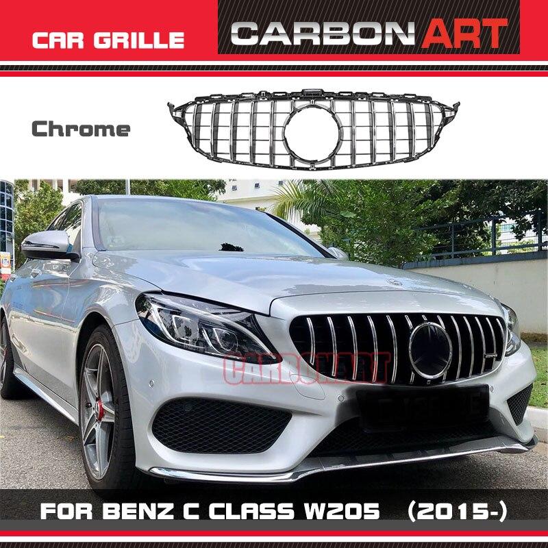 Carbonart C Class W205 AMG GT R GTR ABS Silver Front Bumper Mesh Grill Grille Fit For mercedes W205 C200 C300 Sports No Camera автомобильный коврик seintex 86286 для mercedes c class w205