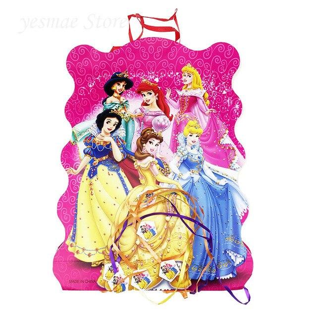 Papier six princesses pliantes 1 pièce 40*29cm   Fournisseur de fête danniversaire pour enfants filles garçons, décoration joyeux anniversaire