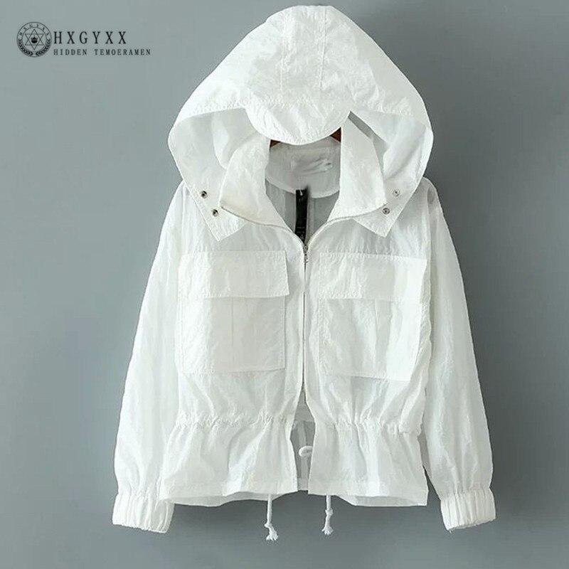 Plus Size 2018 New Summer Sun Protection Clothing Thin Hooded Women Windbreaker Zipper Jacket Women Beach Female Coat OKD075