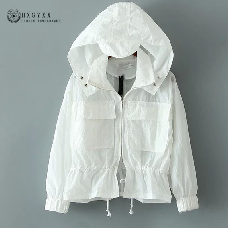 Plus Size 2018 New Summer Sun Protection Clothing Thin Hooded Women Windbreaker Zipper Jacket Women Beach Female Coat OKD075