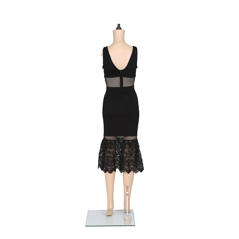 ZTVitality 2017 Crna čipka šuplje V - izrez bez rukava Vestido De - Ženska odjeća - Foto 6