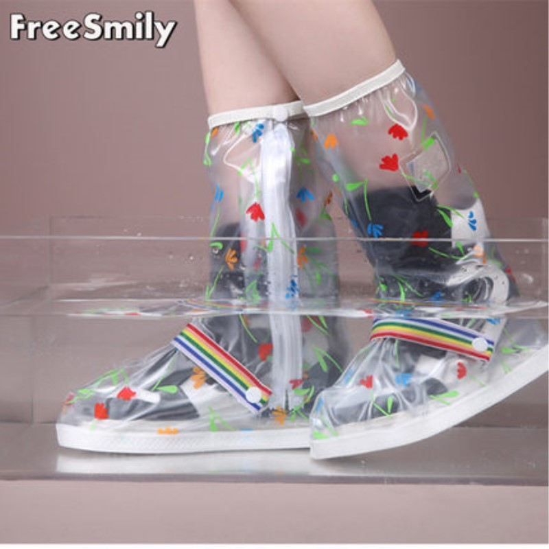 Freesmily male and female fashion high tube waterproof and antiskid shoe cover with thick and wear-resistant sole