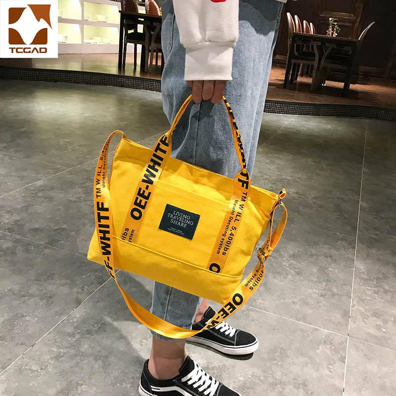 TCGAD yellow Bag Women Fashion yellow handbag Large Capacity Tote Bag Casual shopping women bolso amarillo mujer sac jaune 2019