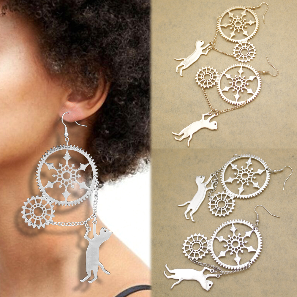 Vintage Steampunk Red crystal drop Earrings Victorian Chain Detail Long Ladies