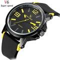 V6 Лучших Люксовый Бренд Часы Мужчин Кварцевые Часы мужские Случайные Моды Силиконовые Мужчины Спортивные Часы Водонепроницаемые Военные Наручные Часы
