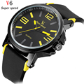 V6 Top Luxury Brand Watches Men Quartz-Watch Men's Casual Fashion Silicone Male Sport Watches Waterproof Military Wristwatches