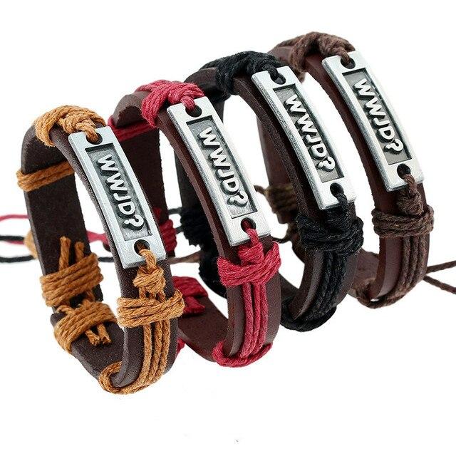 Wwjd Bracelet For Women Or Men Vintage Alloy Genuine Leather Handmade Woven Bangle